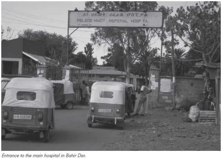 Training in Ethiopia: Entrance to the main hospital in Bahir Dar.