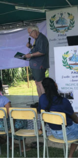 Prof Mike O'Connor giving a talk at an inaugural medical camp organised by PMSA in Fiji.
