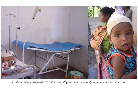 (Left) A treatment room at a health centre. (Right) Local community members at a health centre.